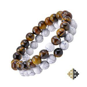 Bracelet en Perles Double Rangées en Œil de Tigre & Pierres Blanches - Bracelet tendances.fr