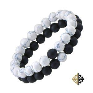 Bracelet Perles Double Rang en Pierres Volcaniques Noirs & Blanches - Bracelets-Tendances.fr