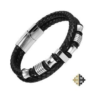 Bracelet Cuir Double Corde Tresse Noir Insert Acier Argenté - Bracelets tendances.fr