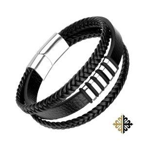 Bracelet en Cuir Triple Rang Noir Inserts Argenté Rectangulaire Fermoir Acier Argent - Bracelets tendances.fr