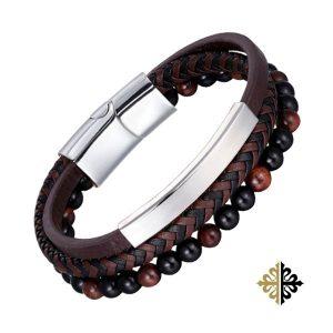 Bracelet Homme Cuir & Perles Noir et Marron & Acier Argent-Bracelets-tendances.fr