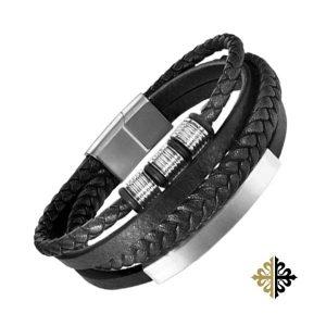 Bracelet Homme Cuir Quatre Rangs Insert Acier Argent Bracelets-tendances.fr