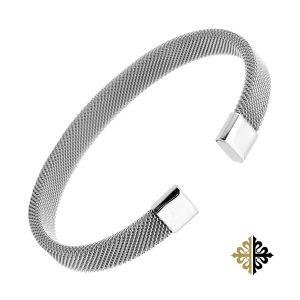 Jonc Homme Argent Maille Milanaise Bracelets-tendances.fr