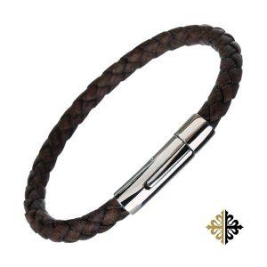 Bracelet Cuir Tressé Couleur Café pour Homme Fermoir Clips Bracelets tendances.fr