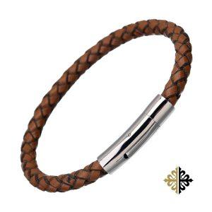 Bracelet Brun en Cuir Tressé pour Homme Fermoir Clips Bracelets tendances.fr