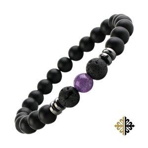 Bracelet Homme Perle Améthyste Violette & Pierres Volcaniques Noir Bracelets Tendances