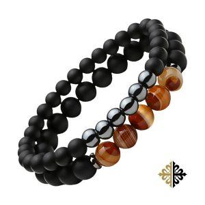 Bracelet Perles Double Oeil de tigre et Pierres Volcaniques Bracelets tendances